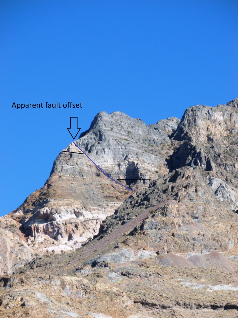 A normal fault with visible offset at the south end of the Silver Islet Range.